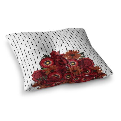 Tobe Fonseca Spring Pattern Dotted Lines Red Mixed Media Square Floor Pillow Size: 23 x 23