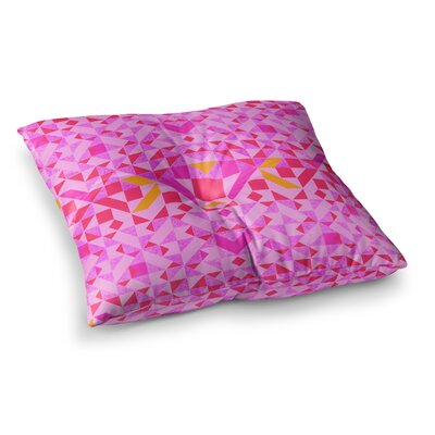 Vasare Nar Geometric Digital Square Floor Pillow Size: 26 x 26, Color: Pink/Red