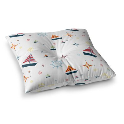 Stephanie Vaeth Sailing Coastal Pattern Square Floor Pillow Size: 23 x 23