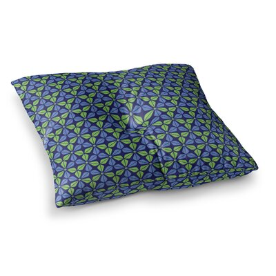 Nick Atkinson Infinite Flowers Square Floor Pillow Size: 26 x 26, Color: Dark Blue
