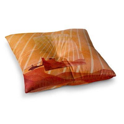 BarmalisiRTB Landed Illustration Square Floor Pillow Size: 23 x 23