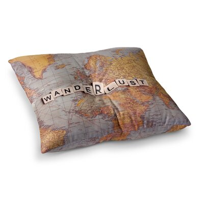 Sylvia Cook Wanderlust Map World Square Floor Pillow Size: 23 x 23
