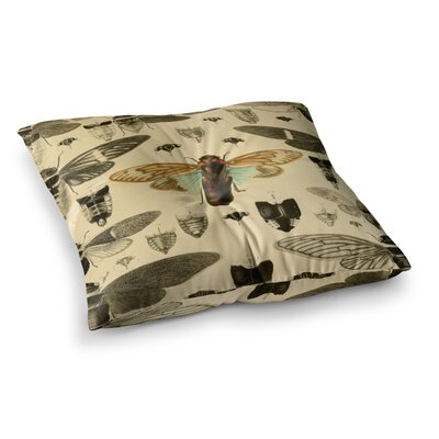 Suzanne Carter Vintage Cicada Bugs Pattern Square Floor Pillow Size: 26 x 26