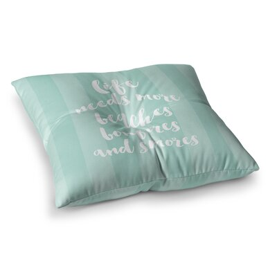 Sylvia Cook Beaches and Bonfires - Mint Typography Square Floor Pillow Size: 23 x 23, Color: Green