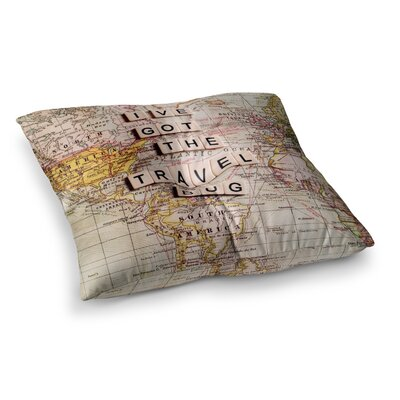Sylvia Cook Travel Bug Map Square Floor Pillow Size: 23 x 23