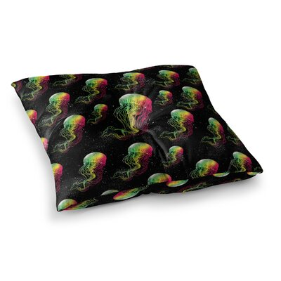 BarmalisiRTB Rainbow Jellyfish Digital Square Floor Pillow Size: 23 x 23