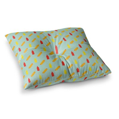 Will Wild Hot Dog Pattern II Food Square Floor Pillow Size: 26 x 26