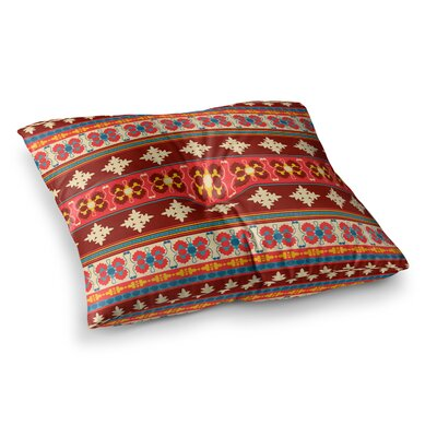 Nandita Singh Borders Square Floor Pillow Size: 23 x 23, Color: Red