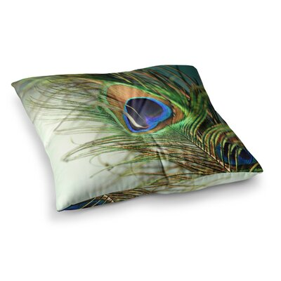 Sylvia Cook Peacock Feather Square Floor Pillow Size: 23 x 23
