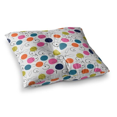Neelam Kaur Colorful Polka Berries Digital Square Floor Pillow Size: 23 x 23