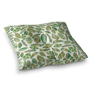 Pom Graphic Design Tropical Botanicals 2 Square Floor Pillow Size: 23 x 23, Color: White/Green