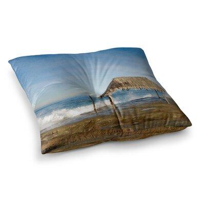 Nick Nareshni Crashing Waves Near Hut Square Floor Pillow Size: 26 x 26