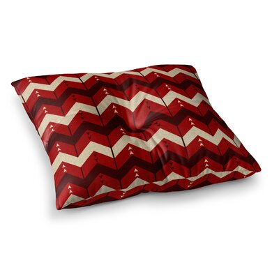 Nick Atkinson Chevron Dance Square Floor Pillow Size: 23 x 23, Color: Red