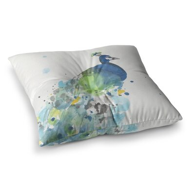 Rebecca Bender Abstract Watercolor Peacock Square Floor Pillow Size: 26 x 26