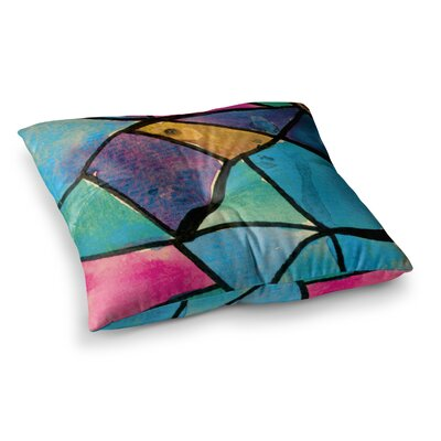 Theresa Giolzetti Stain Glass 1 Square Floor Pillow Size: 26 x 26, Color: Blue