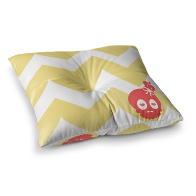Nick Atkinson Skull II Chevron Square Floor Pillow Size: 23 x 23