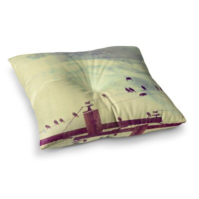 Sylvia Coomes Vintage Birds On A Wire 1 Square Floor Pillow Size: 26 x 26