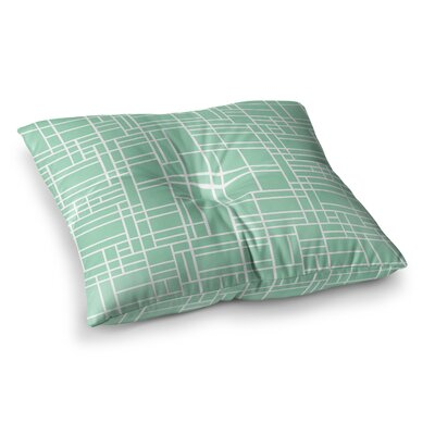 Project M Map Outline Geometric Lines Square Floor Pillow Size: 26 x 26, Color: Green