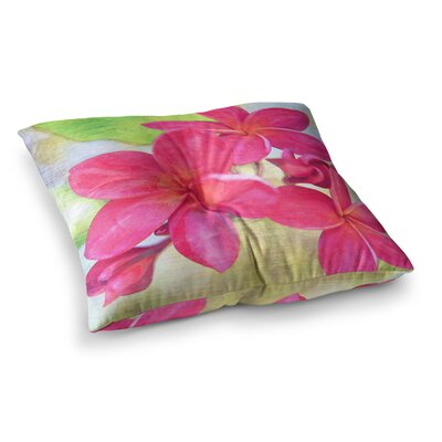 Sylvia Cook Plumeria Flower Petals Square Floor Pillow Size: 23 x 23