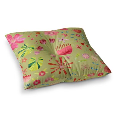 Nic Squirrell Pressed Wildflowers Square Floor Pillow Size: 23 x 23, Color: Yellow