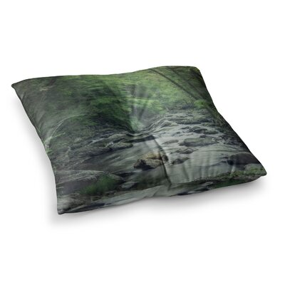 Suzanne Harford Misty Forest Stream Nature Photography Square Floor Pillow Size: 26 x 26