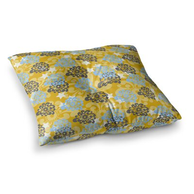 Nandita Singh and Flowers Floral Square Floor Pillow Size: 26 x 26, Color: Yellow/Gray