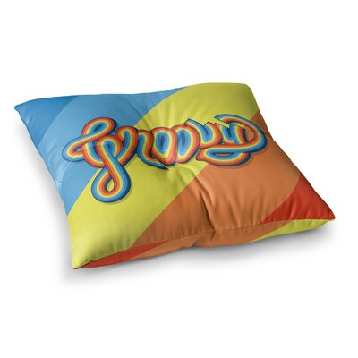 Roberlan Groovy Typography Square Floor Pillow Size: 23 x 23