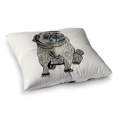 Pom Graphic Design Ares the Pug Square Floor Pillow Size: 23 x 23
