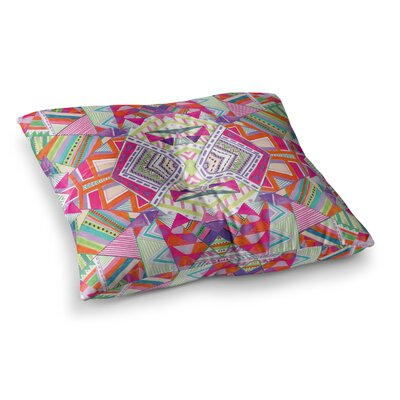 Vasare Nar Neon Cheetah Stripe Balance Mixed Media Square Floor Pillow Size: 23 x 23