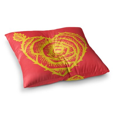 BarmalisiRTB I Love Roses Heart Thorns Square Floor Pillow Size: 26 x 26