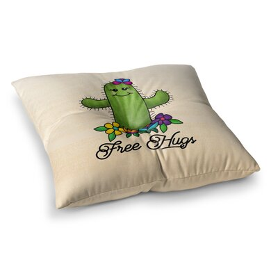 Noonday Design Free Hugs Cactus Square Floor Pillow Size: 26 x 26