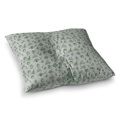 Snap Studio Miniature Christmas Square Floor Pillow Size: 23 x 23, Color: White/Green