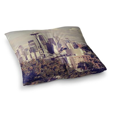 Sylvia Cook Space Needle Skyline Square Floor Pillow Size: 26 x 26