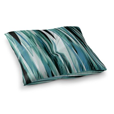 Nina May Brush Strokes Painting Square Floor Pillow Size: 26 x 26, Color: Black/Green