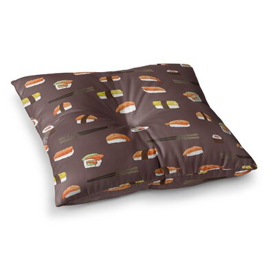 Strawberringo Sushi Pattern Square Floor Pillow Size: 26 x 26