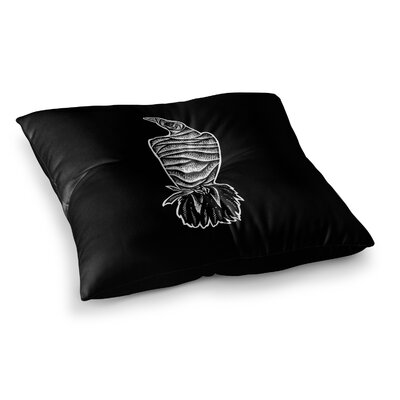 BarmalisiRTB Mummy Crow Illustration Square Floor Pillow Size: 26 x 26