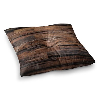 Susan Sanders Rustic Wood Photography Square Floor Pillow Size: 23 x 23, Color: Dark Brown