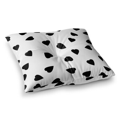 Suzanne Carter Hearts Square Floor Pillow Size: 26 x 26, Color: White