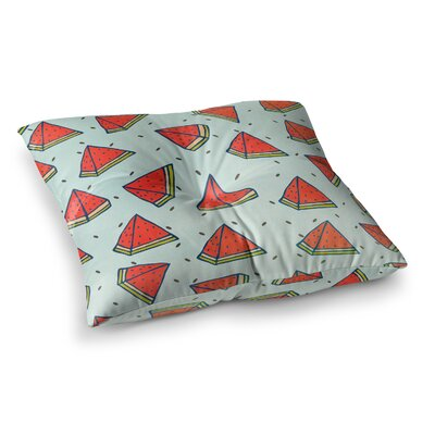 Strawberringo Watermelon Pattern Summer Love Fruit Food Square Floor Pillow Size: 26 x 26