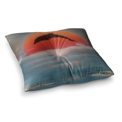 Infinite Spray Art Dolphin Sunset Square Floor Pillow Size: 26 x 26