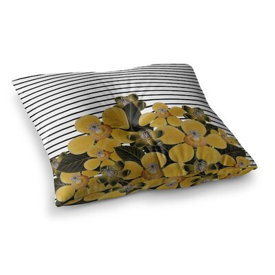 Tobe Fonseca Spring Pattern Lines Yellow Mixed Media Square Floor Pillow Size: 26 x 26