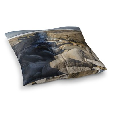 Nick Nareshni Stone Beach Reef Beige Photography Square Floor Pillow Size: 26 x 26