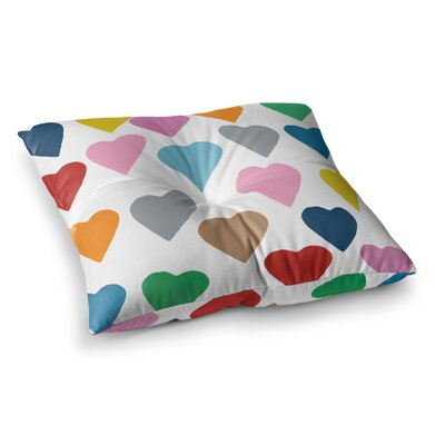 Project M Hearts on Square Floor Pillow Size: 26 x 26, Color: White/Rainbow