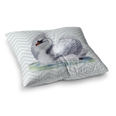 Suzanne Carter Vintage Swan Bird Chevron Square Floor Pillow Size: 23 x 23