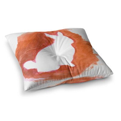 Theresa Giolzetti You A Bunny Abstract Paint Square Floor Pillow Size: 26 x 26, Color: Orange