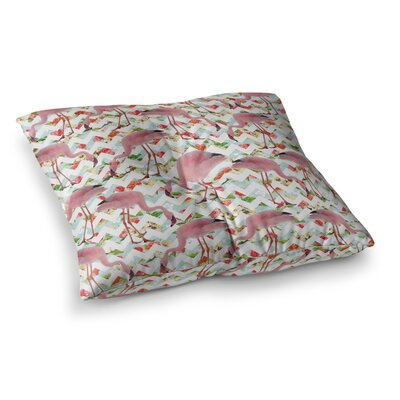 Suzanne Carter Flamingo Chevron and Roses Digital Square Floor Pillow Size: 26 x 26