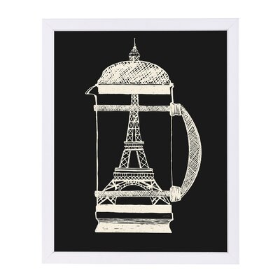 """'French Press' Print Format: Paper White Framed, Size: 25"""" H x 19"""" W"""