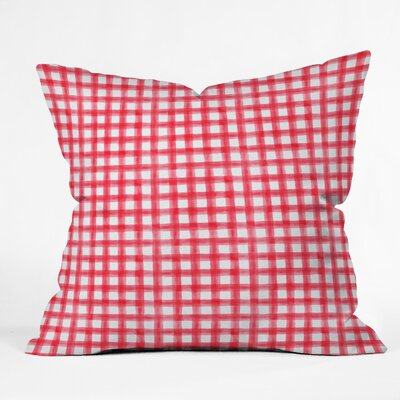 Little Arrow Co Watercolor Buffalo Check Euro Pillow Color: Red