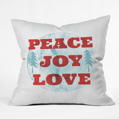 Heather Dutton Peace Joy Love Woodcut Throw Pillow Size: 16 x 16