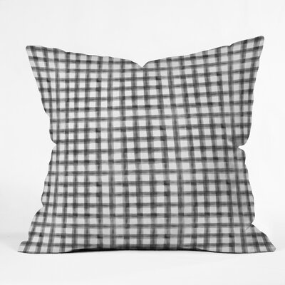 Little Arrow Co Watercolor Buffalo Check Throw Pillow Color: Black, Size: 18 x 18